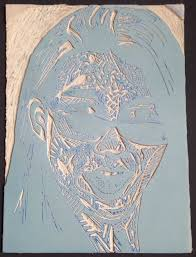 Here Is An Example Of A Linoleum Block The Resulting Print Self Portrait