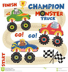 100 Monster Truck Track Set S With Animals On Race Stock Vector