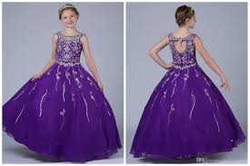 long purple girls pageant dresses 2017 ball gown floor length