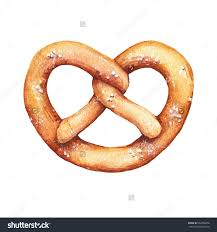 Watercolor bakery product pastry illustrations Pretzel with salt on it German traditional