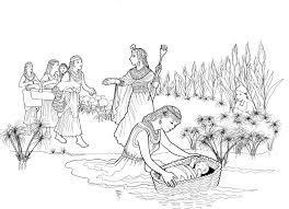Moses In The Bulrushes Coloring Page With Baby