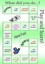 English Worksheet Board Game