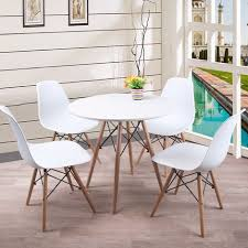 esstisch mit 4 stühlen weiß esszimmer essgruppe runde 70x70x75cm lässiger tisch skandinavischer stil mdf