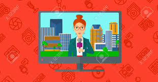 Television Set Broadcasting The News With A Reporter Vector Flat Design Illustration Isolated On Red Background