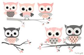 Pink And Grey Owls Set Cute Owl Clipart Kawaii Clip Art Girl On Branches Baby Shower By Pravokrugulnik