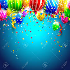Birthday card with colorful transparent balloons and confetti on blue background Stock Vector