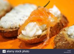 barcelona canapé cheese canapes at barcelona degusta food fair catalonia spain