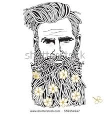 Coloring Book Page For Adult Hand Drawn Hipster Man With Long