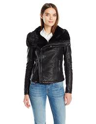 members only women u0027s leather moto jacket with faux fur collar at