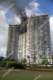 100 Marco Polo Apartments Smoke Billows Upper Floors Apartment Editorial