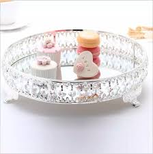 europäische metall kuchen pan dekoration kristall tablett tablett spiegel tablett silber trays für home dekoration ft006