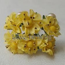 Free Shipping New 144pcs 3cm Yellow Handmade Mini Paper Flower For Wedding Invitation Card Scrapbook