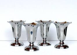 Chrome Ice Cream Sundae Dishes Vintage 50s Soda Fountain Parfait Cups Set Of 4 Bowls