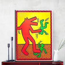 großhandel zz1432 abstrakte leinwand kunstdrucke leinwand bilder keith haring ölgemälde für wohnzimmer schlafzimmer dekoration ungerahmt