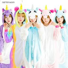Pink Unicorn Pajamas Sets Flannel Adults Animal Winter Nightie Stitch Unicornio Sleepwear For Women Pijamas De Animales