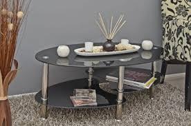glastisch beistelltisch schwarz couchtisch oval edelstahl mit 8 mm esg sicherheitsglas