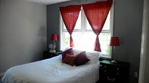 Grey Bedroom Walls Red Curtain White Bed Home Pinterest
