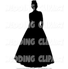 Wedding Black Silhouetted Bride or Debutante Standing in a Formal Dress