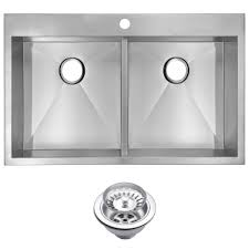 kraus pax drop in stainless steel 33 in 2 hole single bowl
