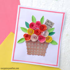 Flower Basket Paper Craft For Kids Get The Card Template Here