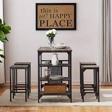 O&K FURNITURE 5-Piece Dining Room Table Set, Bar Pub Table Set, Industrial  Style Counter Height Kitchen Table With 4 Backless Bar Stools For Dining ...