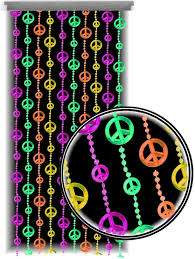Door Bead Curtains Ebay by Beaded Curtains Black Light Reactive Neon Peace Sign Door Beads