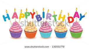 Birthday cupcakes isolated Happy Birthday vector birthday card