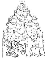 Christmas Morning Tree Coloring Page Sheet