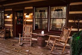 Decoration Magnificent Log Cabin Front Porch Decor Using Rustic Drum Table Between Old Style Rocking Chair