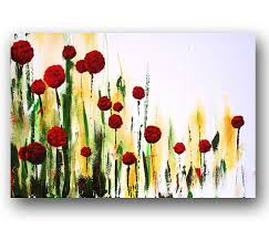 Red Abstract Flowers Painting Floral By Heatherdaypaintings 27500