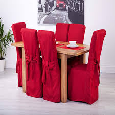 Set Of 6 Red Linen Fabric Dining Chair Covers For Scroll Top High Intended Impressive