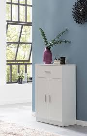 wohnling highboard wl5 861 weiß hochglanz 60x90x30 cm design holz anrichte hohes sideboard mit schubladen und türen wohnzimmer mehrzweckschrank