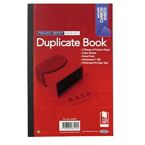 Premier Stationery Duplicate Book - 1 to 100 Numbered pages