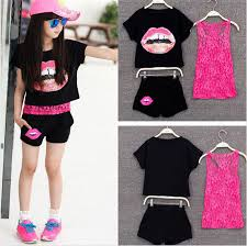 clothing for teen girls 3 pieces sets 2016 summer kids