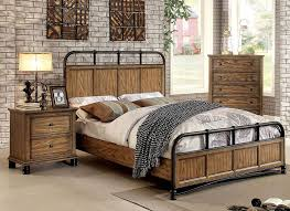 Lexington Rustic Finish Bedroom Set Industrial Furniture In Idea 14