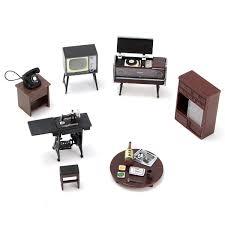 Diy Blue Time Miniature Wooden Modern Dollhouse Furniture Kit Led
