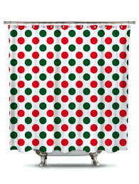 red and green a dot fabric shower curtain red white polka dot