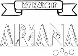 Name Coloring Pages Ariana