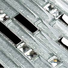 metal glass mosaic bath wall silver stainless steel backsplash