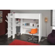 lit mezzanine bureau blanc dave lit surélevé enfant avec sommier bureau et rangements