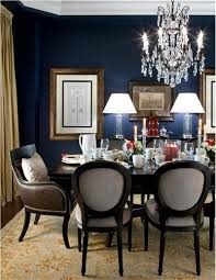 Elegant Traditional Dining Room With Navy Walls