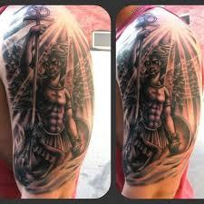 Good Grey Ink Angel Tattoo On Man Left Half Sleeve