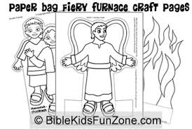 Fiery Furnace Paper Bag Craft Pages For Children To Color The Daniel 3 Bible Story Coloring