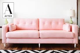 Karlstad Sofa Leg Hack by Diy Success Dyeing An Ikea Sofa A New Color Apartment Therapy