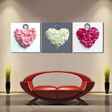 3 panneaux mur décoratif photos amour coeur fleur pétales toile