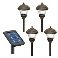 Malibu 4 Pack Solar Metal Landscape Lights with Remote Panel and