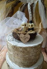Country Woodland Snow Barn Rustic Wedding Owls Cake Topper OWLS