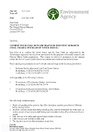 The Environment Agency letter of consent which included seven