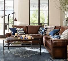 Pottery Barn Turner Sectional Sofa by Turner Roll Arm Leather 3 Piece L Shaped Sectional Pottery Barn