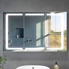 led spiegelschrank 3 türig 105 x 65 x 13 cm badezimmer spiegel wandschrank bad schrank mit beleuchtung und steckdose